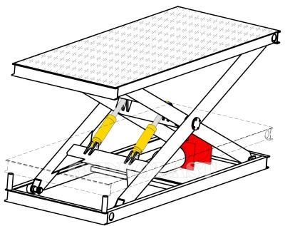 Чертеж одноножничного подъемного стола
