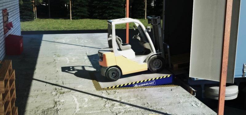 Уравнительная подъемная платформа на производственной площадке