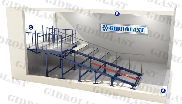 Гидравлический наклонный лифт подъемник
